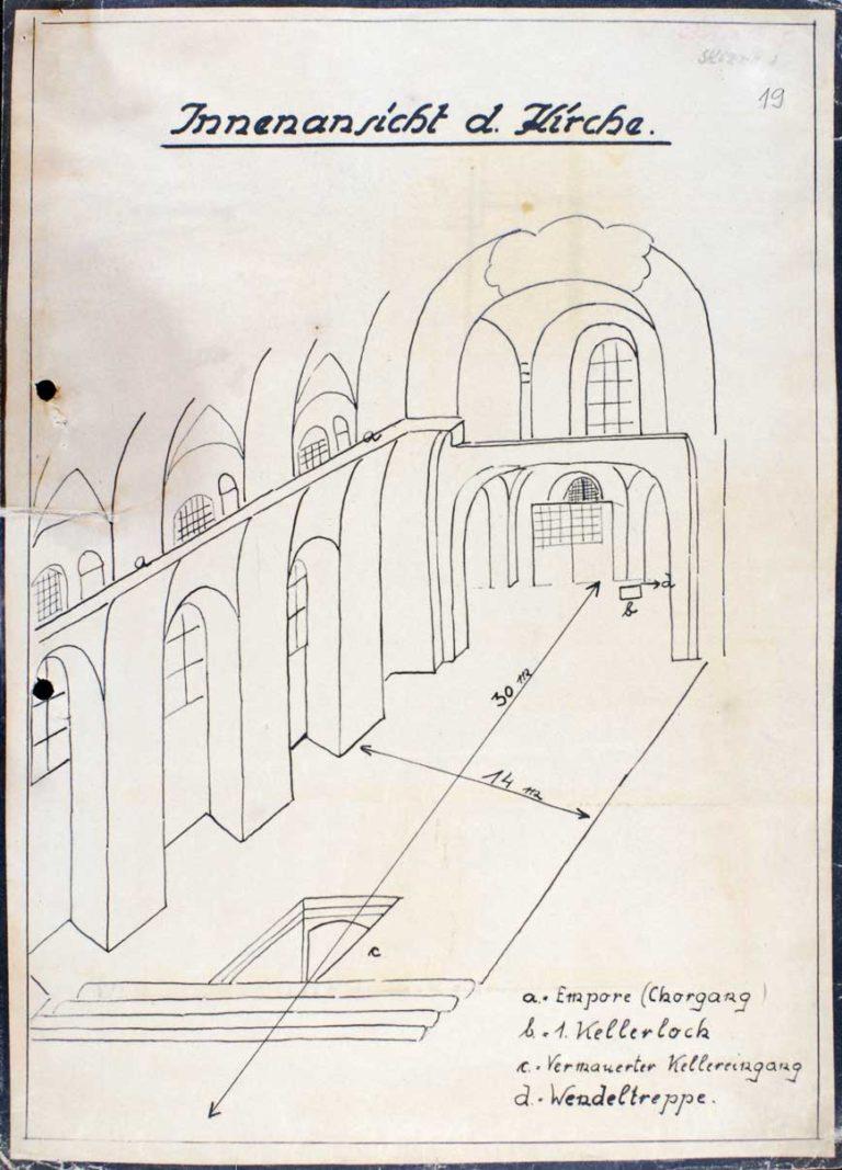 Plán krypty pravoslavného kostela sv. Cyrila a Metoděje v Praze (červen 1942)