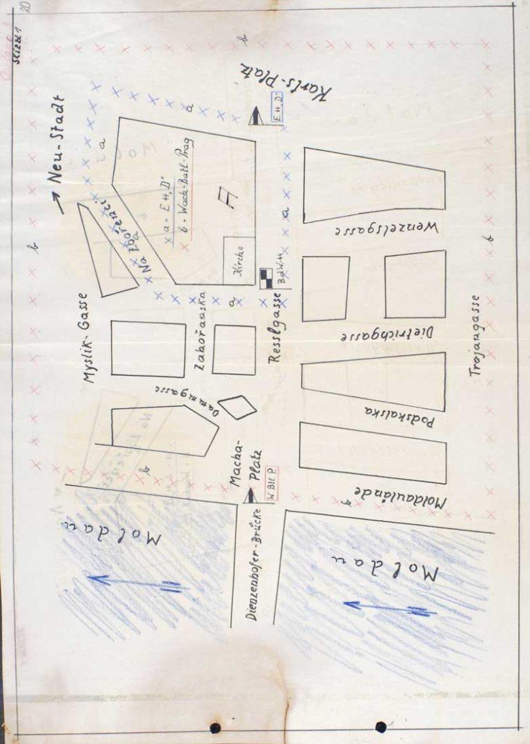 Mapka okolí kostela sloužící k nasazení německých ozbrojených složek (červen 1942)