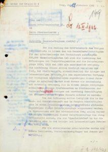 Záznam W. Dennlera z úřadu říšského protektora týkající se pokrytí kvóty 100 tis. dělníků z protektorátu do Říše prostřednictvím ročníkových akcí