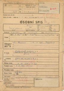 Osobní vězeňský spis Marie Švejdové