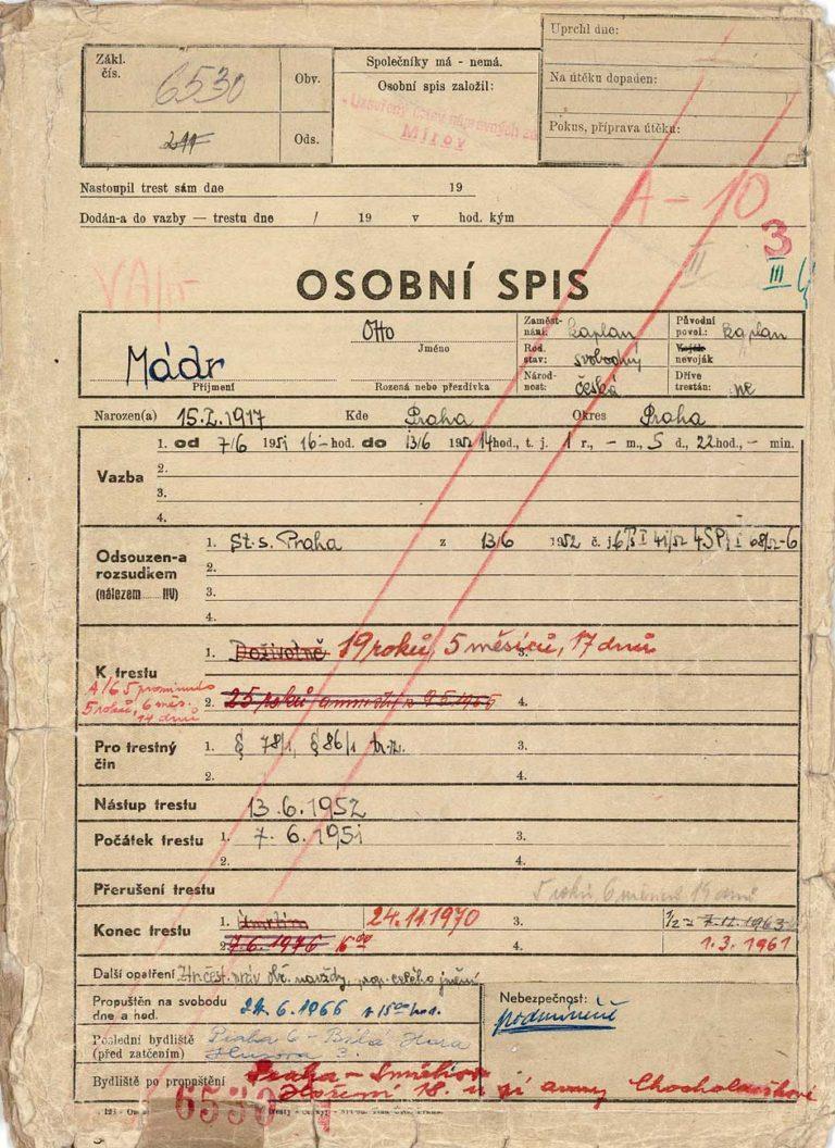 Osobní vězeňský spis Oty Mádra