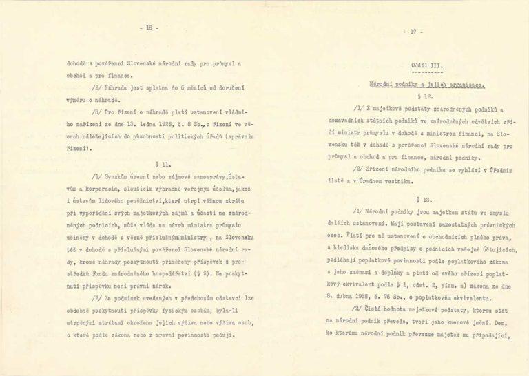 Dekret prezidenta republiky č. 100/1945 Sb. oznárodnění dolů aněkterých průmyslových podniků