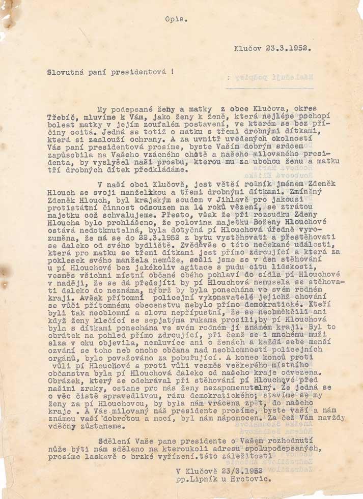 Opis dopisu obyvatel Klučova proti vystěhování rodiny