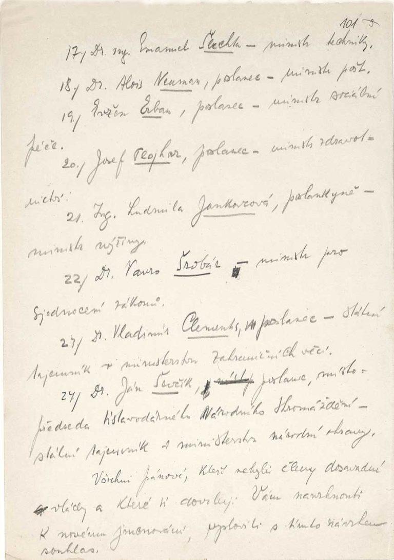 Rukopis dopisu předsedy vlády prezidentu republiky Edvardu Benešovi s návrhem nové vlády