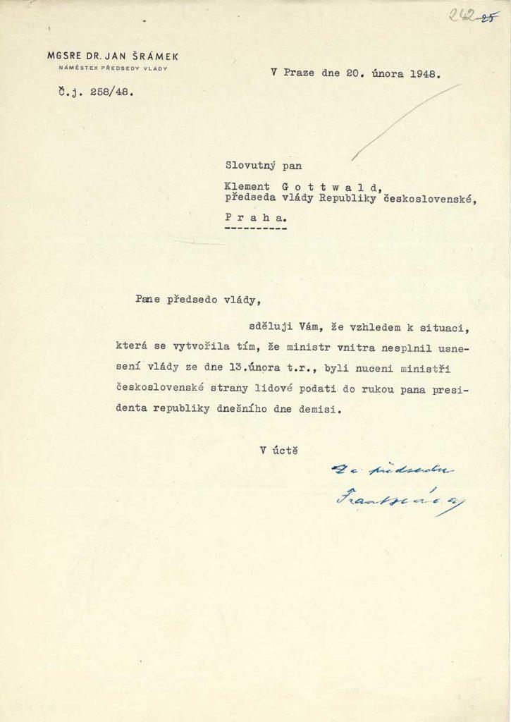 Dopis Msgr. Šrámka o demisi členů ČSL ve vládě Národní fronty