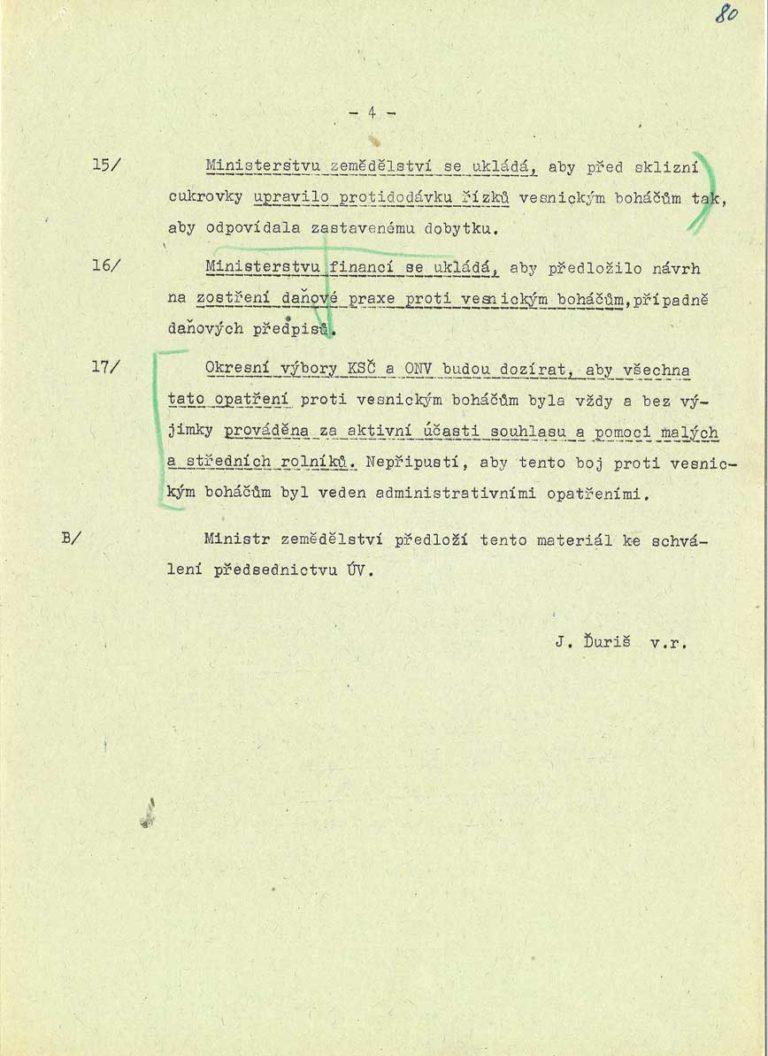 Materiál pro sekretariát ÚV KSČ omezování a zatlačování vesnických boháčů