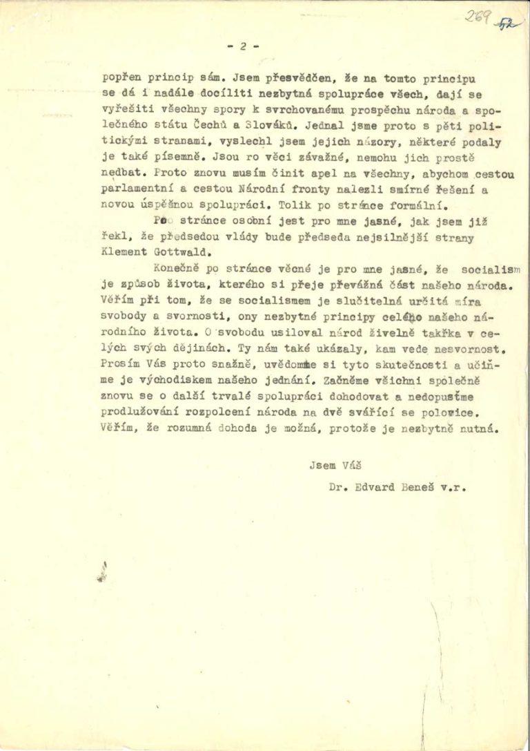 Dopis E. Beneše