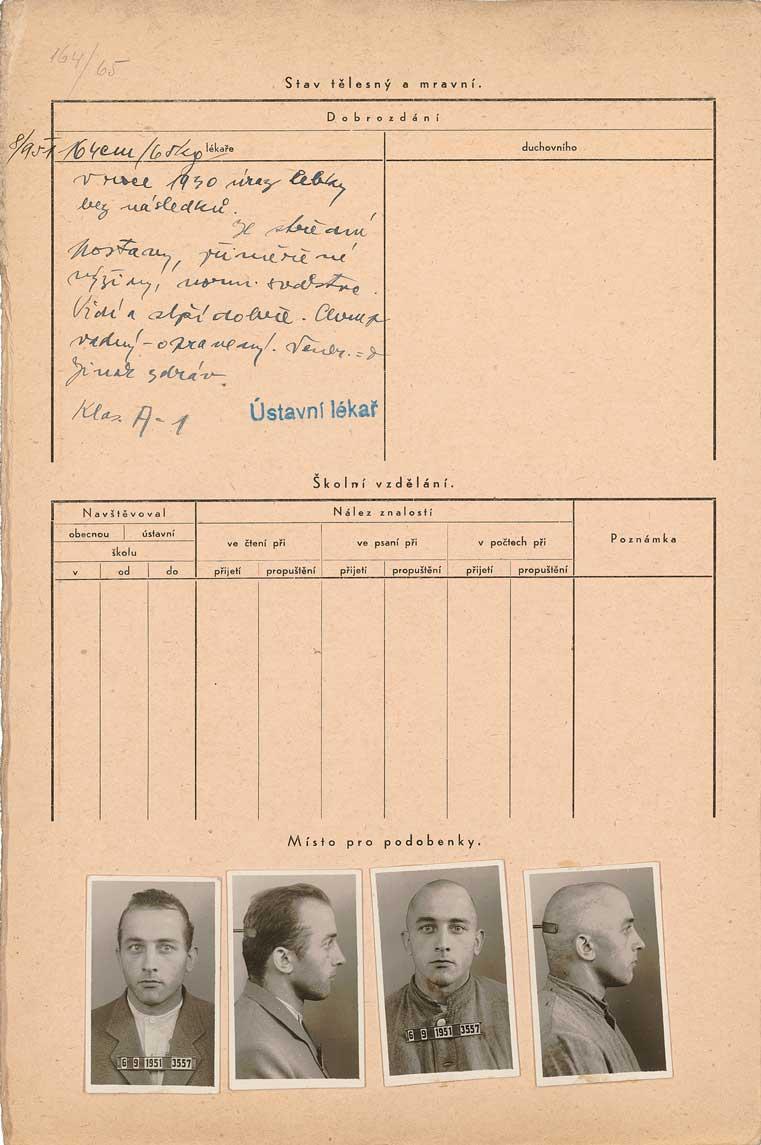 Osobní vězeňský spis Jiřího Jiroucha