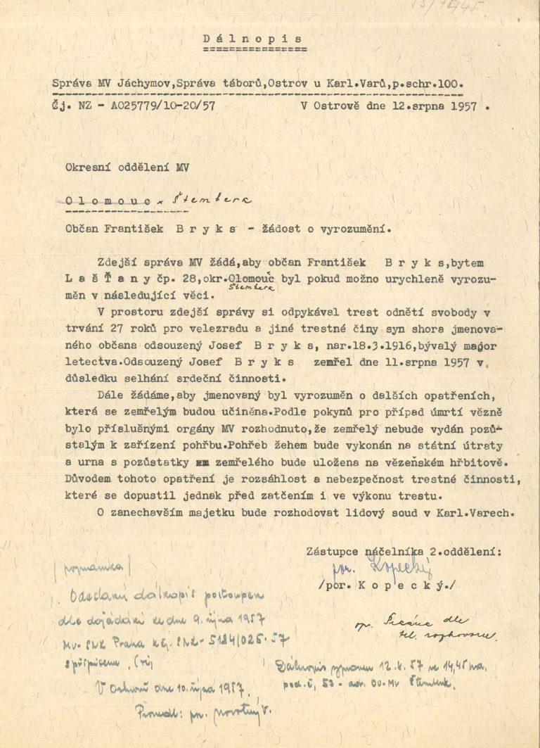 Osobní vězeňský spis Josefa Brykse