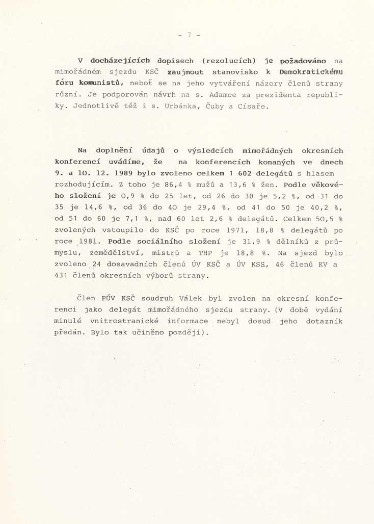 Vnitrostranická informace o událostech roku 1989, politickoorganizačního oddělení ÚV KSČ