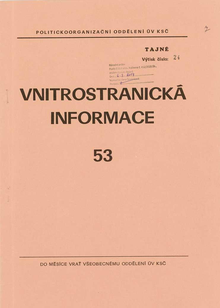 Vnitrostranická informace oudálostech roku 1989, politickoorganizačního oddělení ÚV KSČ - 53_01