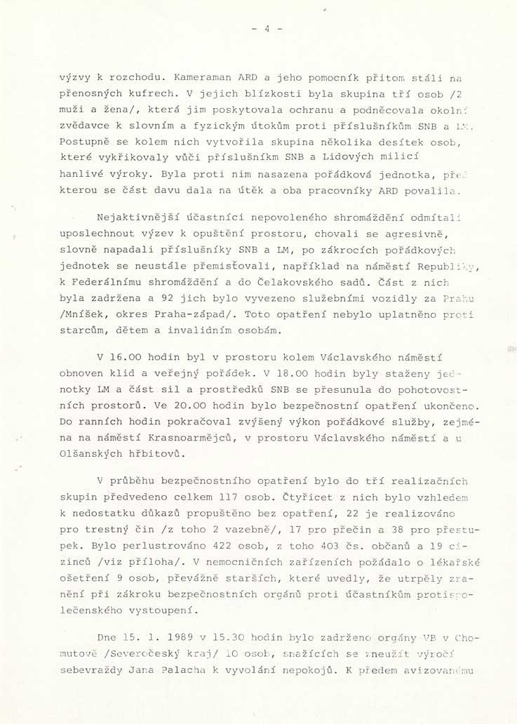 Vnitrostranická informace oudálostech roku 1989, politickoorganizačního oddělení ÚV KSČ