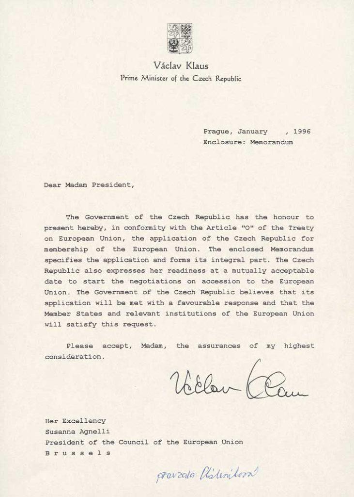 Žádost České republiky opřijetí do Evropské unie vanglickém jazyce