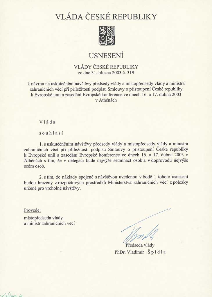 Usnesení vlády České republiky č. 319