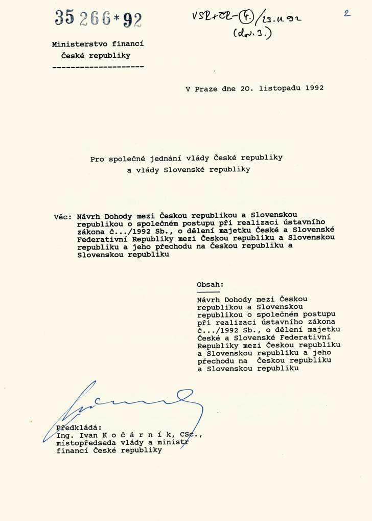 Návrh dohody orozdělení majetku mezi Českou republikou aSlovenskou republikou