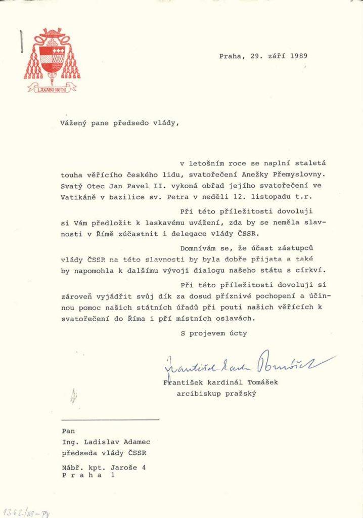 Dopis kardinála Františka Tomáška předsedovi vlády ČSSR Ladislavu Adamcovi sinformací osvatořečení Anežky Přemyslovny