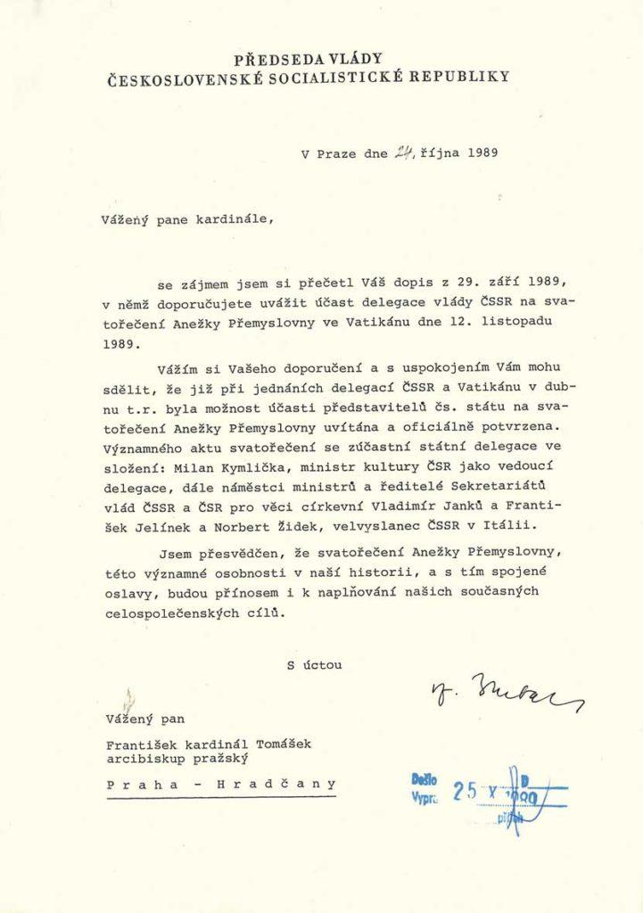 Odpověď předsedy vlády ČSSR Ladislava Adamce kardinálu Tomáškovi