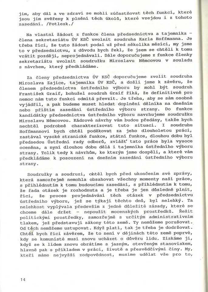 Stenografický záznam zmimořádného zasedání ústředního výboru KSČ