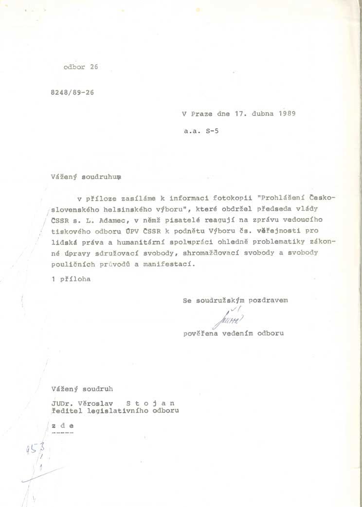 Prohlášení Československého helsinského výboru