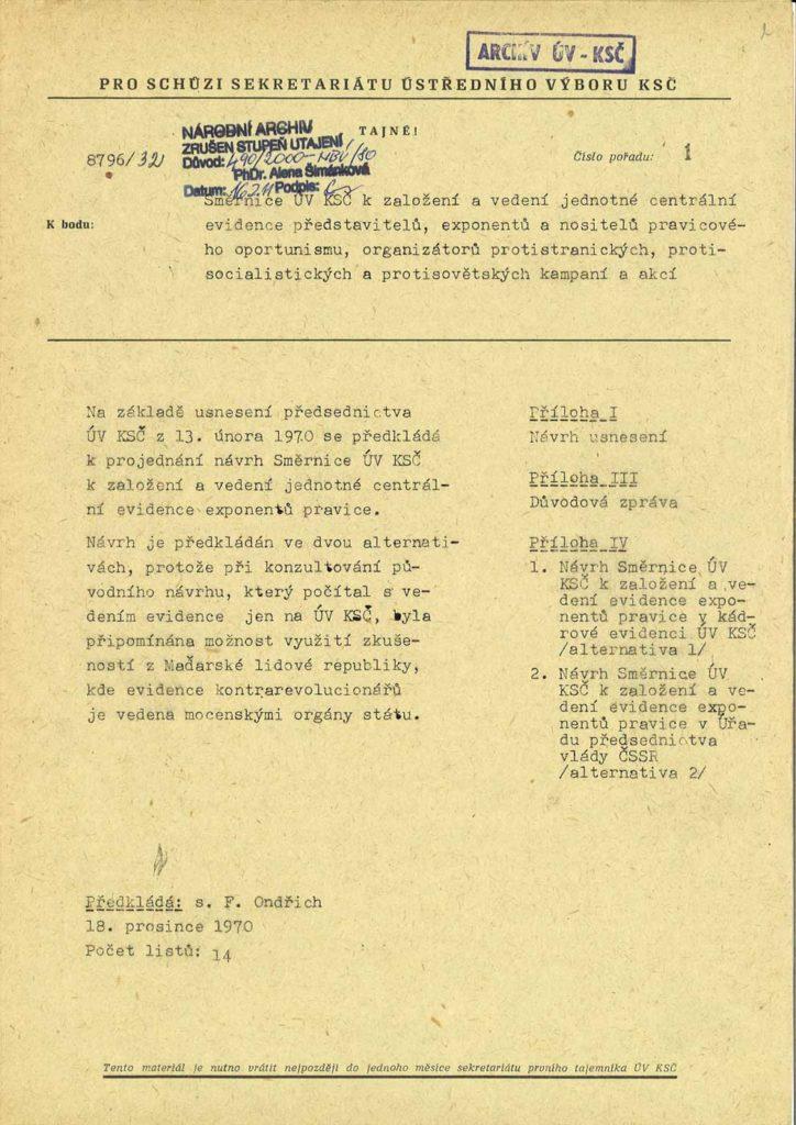 Směrnice ÚV KSČ k založení a vedení jednotné centrální evidence představitelů, exponentů a nositelů pravicového oportunismu, organizátorů protistranických, protisocialistických a protisovětských kampaní a akcí