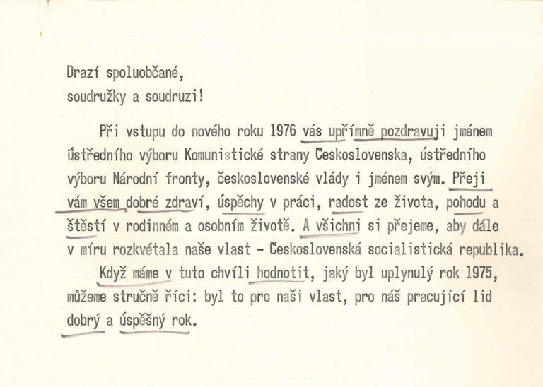 Novoroční projev prezidenta republiky Gustáva Husáka
