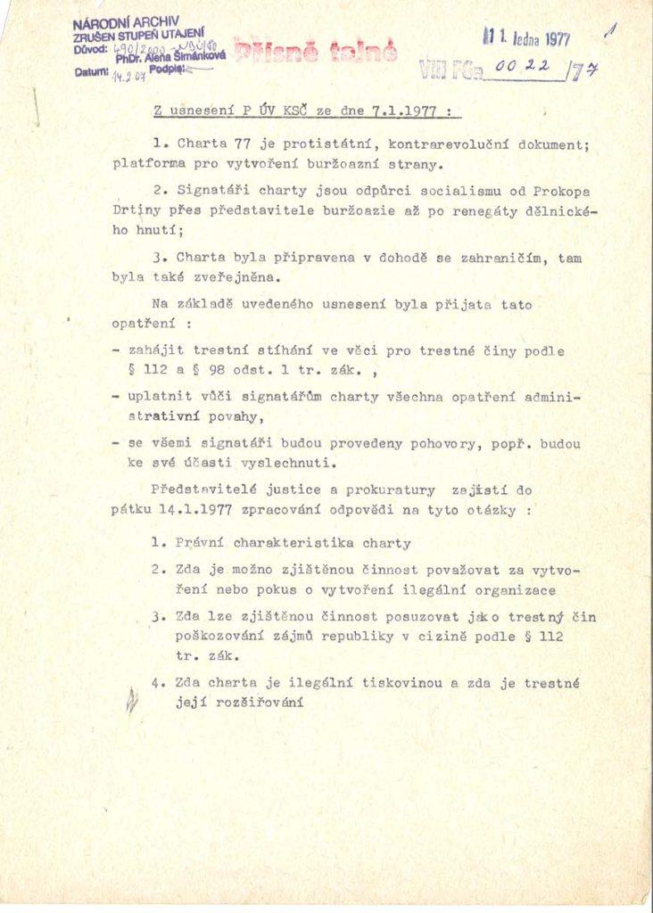 Prohlášení ÚV KSČ k Chartě 77