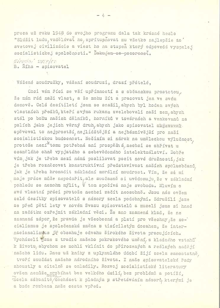 Provolání československý výborů uměleckých svazů - tzv. Anticharta - projev Bohumila Říhy a projev Jiřího Sequense
