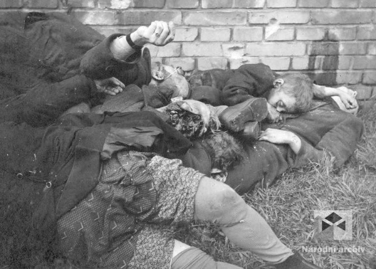 Peklo v Úsobské ulici na Pankráci. Příslušníci SS z bojové skupiny Wallenstein se brutálně pomstili za útok mladých povstalců, kteří 5. května odpoledne ostřelovali kulometem ze střechy blízkou školu Na Zelené lišce. Na zahrádce před číslem 254 popravili 16 neozbrojených starších mužů, žen a malých dětí.
