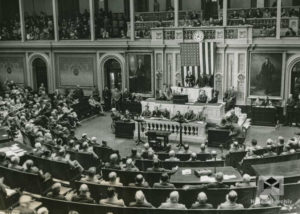 Prezident Beneš mluví v kongresu, Washington, 1943, 13. května