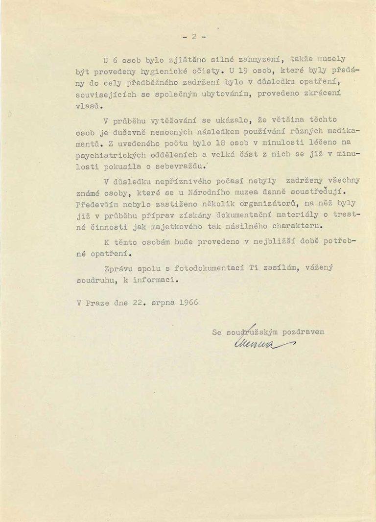"""Zpráva o činnosti """"vlasatců"""" od Národního muzea"""