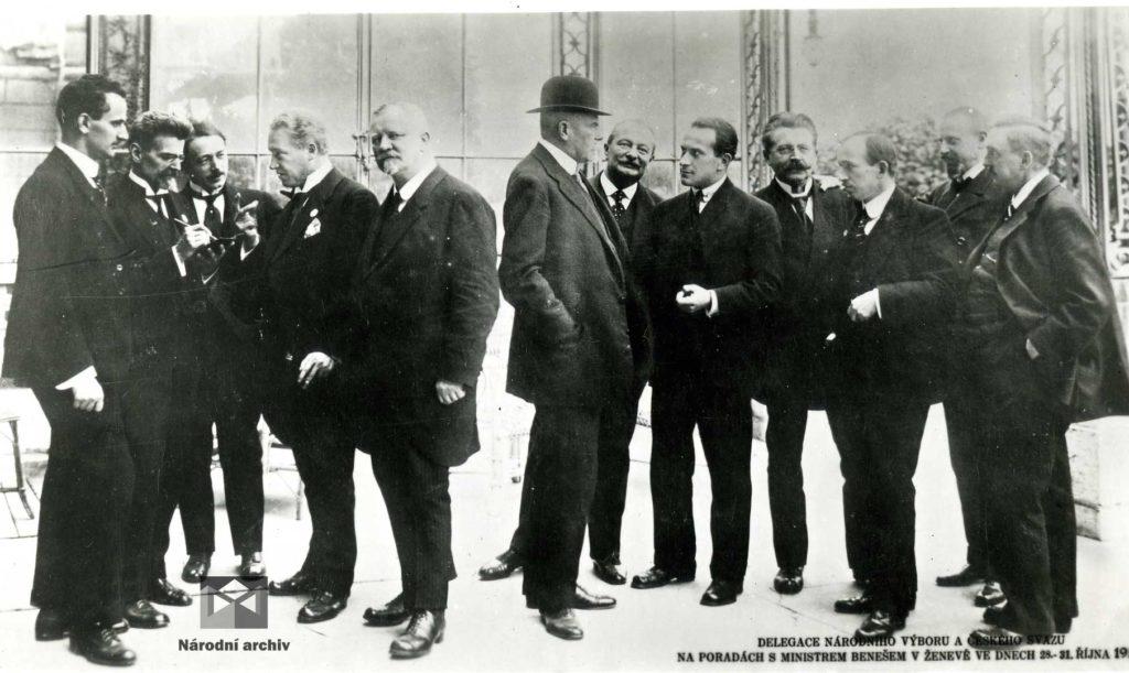 Delegace Národního výboru aČeského svazu na poradách sministrem Benešem vŽenevě