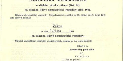 Zákon na ochranu lidově demokratické republiky č. 231/1948 Sb. z 6. října 1948